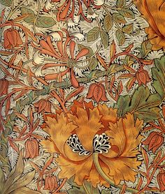 Honeysuckle, by William Morris, I just LOVE William Morris textiles! William Morris Patterns, William Morris Art, Art And Craft Design, Design Crafts, Art Nouveau Pintura, Morris Wallpapers, Edward Burne Jones, Pre Raphaelite, Motif Floral
