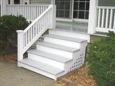 EVIL LURKS HERE. haha ive fallen off of horses moving cars water skis snow skis houses ladders 10 ft fences trees--but its the steps that got me :( Outside Stair Railing, Front Porch Railings, Front Stairs, Deck Stairs, Front Walkway, Front Porches, Ready Made Outdoor Stairs, Porch Wood, White Porch