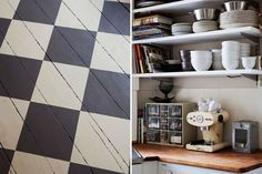 Black and white chequer board tiles painted on floor boards - clever!