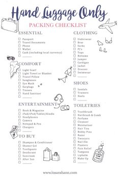 TRAVEL CHECKLIST: **FREE** Printable! Your Holiday Carry On Guide to Packing Anything you Could Need When Just Taking Hand Luggage!
