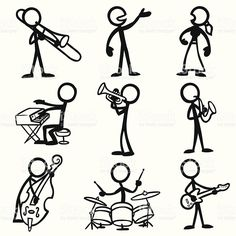 Stick Figure People Jazz Musicians playing a variety of instruments. : Stick Figure People Jazz Musicians royalty-free stock vector art Stick Figure People Jazz Musicians playing a variety of instruments. Music Drawings, Easy Drawings, Stick Figure Drawing, Sketch Notes, Jazz Musicians, Drawing Hands, Stick Figures, Free Vector Art, Music Notes