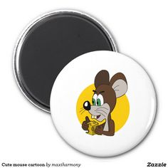 Cute mouse cartoon 2 inch round magnet