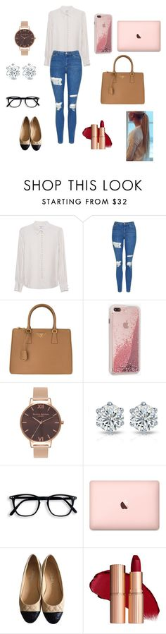 """Harvard"" by maclarafreitas ❤ liked on Polyvore featuring Frame Denim, Topshop, Prada, Case-Mate, Olivia Burton and Chanel"
