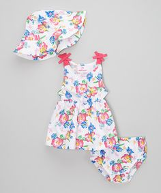 Look what I found on #zulily! Dollhouse White & Pink Floral Button-Up Poplin Dress Set - Infant by Dollhouse #zulilyfinds