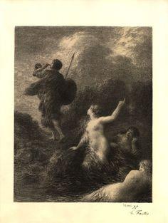 Siegfried et les filles du Rhin (1897), by Henri Fantin-Latour (1836-1904), from Act 3 of Götterdämmerung (1874), by Richard Wagner (1813-1883).