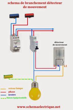 -schéma electrique simple détecteur de mouvement - schéma electrique détecteur avec interrupteur - branchement et câblage d...