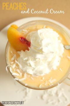 Peaches and Coconut Cream Smoothie is the perfect summer breakfast. But I'd even eat it as a dessert!