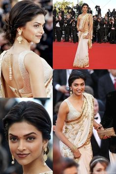 Indian model and actress Deepika Padukone in a sexy ivory sari with gold detail designed by Rohit Bal at the red carpet of Cannes Film Festival 2010