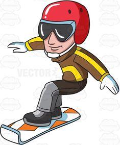A snowboarder practicing on the slopes #cartoon #clipart #vector #vectortoons #stockimage #stockart #art