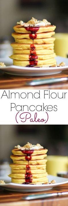 Almond Flour Pancakes gluten-free, grain-free, and paleo! Breakfast And Brunch, Breakfast Pancakes, Low Carb Breakfast, Breakfast Recipes, Breakfast Crockpot, Breakfast Ideas, Avacado Breakfast, Breakfast Casserole, Breakfast Bake