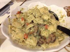 Spinach Raviolis and Pan Seared Fish | Spinach Ravioli, Creamy Pesto ...