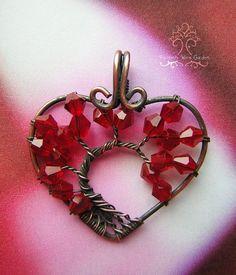 Valentine's Day Romantic Red Tree of Life por RachaelsWireGarden