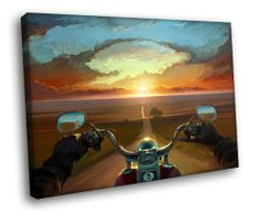H5J1855 Road POV Motorcycle Sunset Painting Art 20×16 FRAMED CANVAS PRINT  http://bikeraa.com/h5j1855-road-pov-motorcycle-sunset-painting-art-20x16-framed-canvas-print/