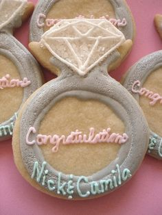 Engagement Ring Cookies Wedding Shower by charmingtreats4you, $45.00