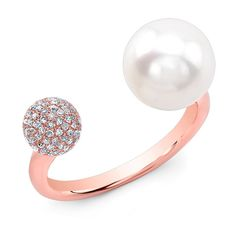 Anne Sisteron  14KT Rose Gold Diamond Dome and Pearl Ring ($925) ❤ liked on Polyvore featuring jewelry, rings, rose, pearl jewellery, pink gold rings, rose gold jewelry, pearl jewelry and rose gold pearl ring