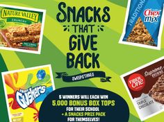 5 will win a $530.00 5,000 Bonus Box Tops, which will be awarded to winner's designated school; and a Snacks Prize Pack consisting of General Mills Snack Products.