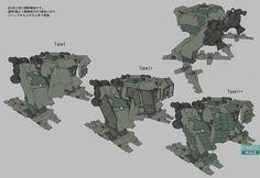 脚部パーツの変遷がわかるデザイン画。左の基本デザインから、異なる形の装甲が付けられているタイプが存在する。装甲の形は、コアパーツと同様のタイプとして派生している