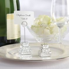 Silver Wedding Cake Place Card Holder Party City Idea For Buffet Table Food Labels