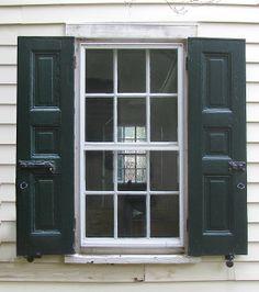 historic raised panel shutters and shutter hardware