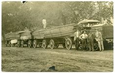 Hauling Lumber, Lodi, California. Image taken in 1914. While lumber flumes allowed for the easy movement of wood, the highest quality product was hauled by wagon. This Holt Tractor is pulling 5 wagons of finished wood.