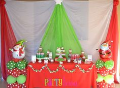 Christmas Party Christmas/Holiday Party Ideas - love the way the table cloth is draped to look like a tree.