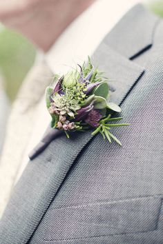 Soft green and purple buttonhole