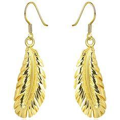 Gold Drop Down Leaf Design Made With Swarovski Elements Leaf Design, Bling Bling, 18k Gold, Fashion Brands, Swarovski, Drop Earrings, Fashion Design, Accessories, Beauty