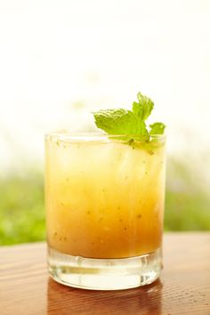 A Honey Bourbon Cocktail with Grapefruit and Mint