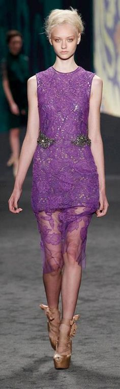 Vera Wang RTW Spring 2013   amethyst chantilly hand-pieced lace sheath dress with jeweled waist over amethyst guipure sleeveless shift   high fashion