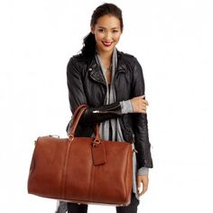 Women's Brown Vegan Leather Oversized Vegan Weekender | Lacie by Sole Society. Another cute weekender....that's also out of stock. :O