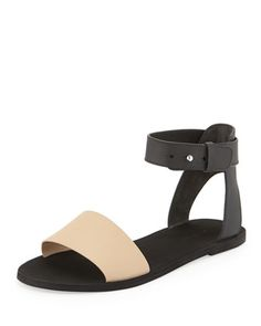 Sawyer Flat Ankle Sandal, Cappuccino/Black by Vince at Neiman Marcus.