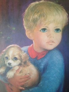 painting of little blond boy with round blue eyes holding little puppy - Google Search