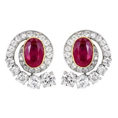 Oval  Ruby and Diamond Earrings | From a unique collection of vintage clip-on earrings at http://www.1stdibs.com/jewelry/earrings/clip-on-earrings/