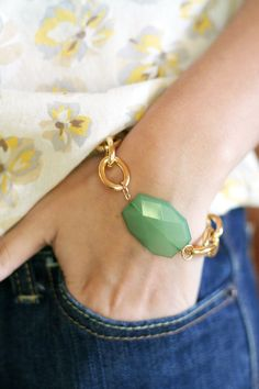 Gold Chain Bracelet with Sea Green Charm by ShopNestled on Etsy, $20.00