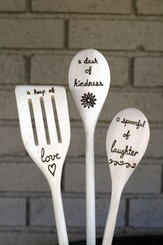 Love Kindness and Laughter Woodburned Spoons  Set by BlessingFalls Housewarming Gift, Bridal shower gift, Mother's Day gift Kitchen Decor