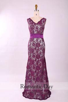 Women Elegant V-Neck Backless Mermaid Lace Long formal evening dress/Mother Dresses/Mother of the groom dress/prom dresses 0348