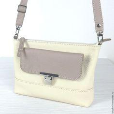 """Купить """"Май-bag"""", кожаная сумочка, светло-бежевый цвет. - бежевый, однотонный"""