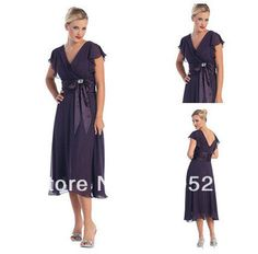 Free Shipping Dark Purple Ruffled Sleeves Tea Length Chiffon Cheap Mother Of The Bride Dresses Plus Size With Sashes-in Mother of the Bride Dresses from Apparel & Accessories on Aliexpress.com