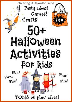50 super fun Halloween activities for kids! Games, crafts, sensory activities and more! Lots of great ideas for the classroom! Get some of these great ideas with lots of pictures and directions at: www. halloween crafts for kids Theme Halloween, Halloween Activities For Kids, Halloween Games, Halloween Birthday, Holiday Activities, Holidays Halloween, Halloween Crafts, Halloween Ideas, Halloween Stuff