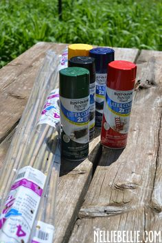 Make giant pick up sticks with bamboo yard stakes and spray paint. Such a fun game for summer!