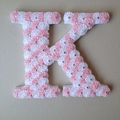 """Wooden letter """"K"""" covered in pink and white fabric yoyo's  on Etsy, $48.50"""