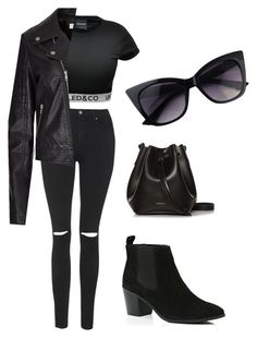 """""""All black"""" by daisychains7 ❤ liked on Polyvore featuring Topshop, River Island and Rachael Ruddick"""