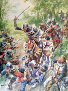 de Guesclin charging against the English, Hundred Years War. Medieval Knight, Medieval Armor, Medieval Fantasy, Antique Pictures, Historical Pictures, Military Art, Military History, Lancaster, High Middle Ages