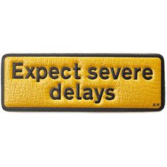 Anya Hindmarch Expect Severe Delays Leather Sticker found on Polyvore featuring home, home decor, office accessories, multicolor, phone stickers, leather note book, leather sticker, leather notebook and leather office accessories