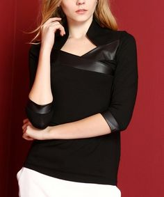 Look what I found on #zulily! Black & Faux Leather Trim Half-Sleeve Top #zulilyfinds