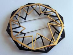 craft central: Exhibitors announced! FASHIONED - exhibition of wearable artworks for London Fashion Week Feb 2014 - MONIQUE DANIELS- POLYHEDRA BROOCH- STAINLESS STEEL WITH GOLD PLATING & BLACK