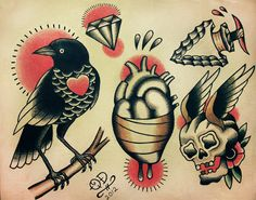 Traditional Tattoo Designs by ParlorTattooPrints on Etsy, $20.00