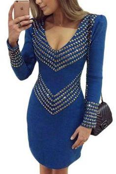 Royal Blue Rivet Studded Long Sleeve Mini Dress ChicLike.com #Blue