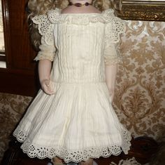 Beautiful antique whitework pique doll dress with embroidery