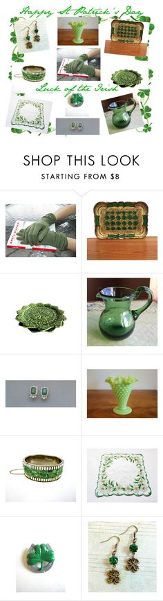 Happy St Patrick's Day by oldsowell on Polyvore featuring Jackpot, Bordallo Pinheiro, Fenton, vintage and v2team